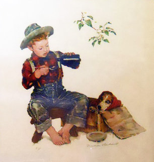 Boy Taking Medicine AP 1977 Limited Edition Print - Norman Rockwell