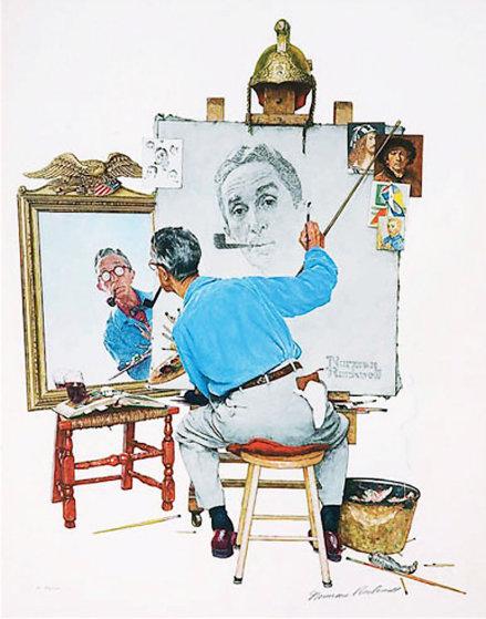Triple Self Portrait AP 1977 by Norman Rockwell