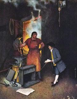 Poor Richard: Blacksmith Shop 1973 Limited Edition Print - Norman Rockwell
