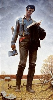 Young Lincoln (railsplitter) AP 1977 Limited Edition Print - Norman Rockwell