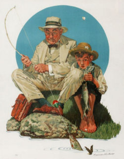 Catching the Big One AP Limited Edition Print - Norman Rockwell