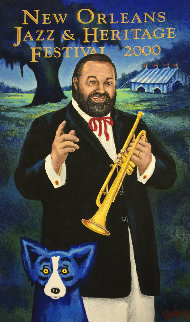 New Orleans. Jazz Fest Poster Signed 2000 HS Limited Edition Print by Blue Dog George Rodrigue