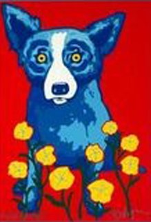 Pushing Up Posies AP 1996 Limited Edition Print - Blue Dog George Rodrigue