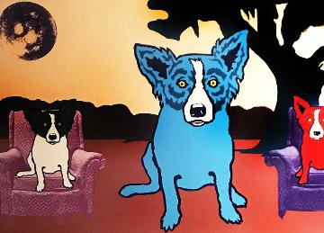 Waiting on My TV Dinner 1993 Limited Edition Print - Blue Dog George Rodrigue