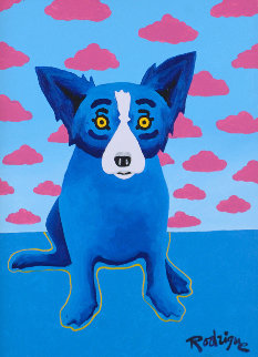 Lipstick Blues Original Painting - Blue Dog George Rodrigue
