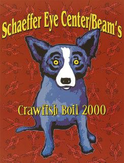 Blue Dog Poster Schaffer Eye Center Beam's Crawfish Boil. Birmingham, AL 2000 Other by Blue Dog George Rodrigue
