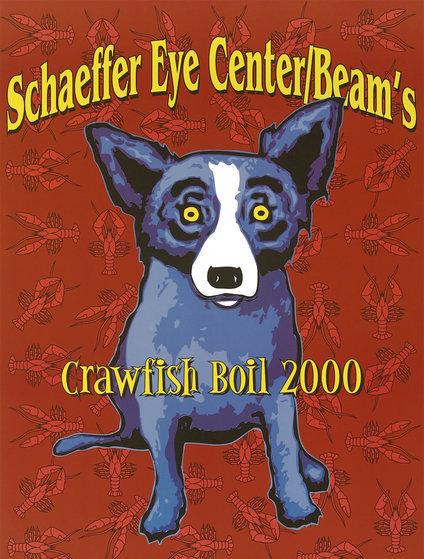 Blue Dog Poster Schaffer Eye Center Beam's Crawfish Boil. Birmingham, AL 2000 HS Limited Edition Print by Blue Dog George Rodrigue