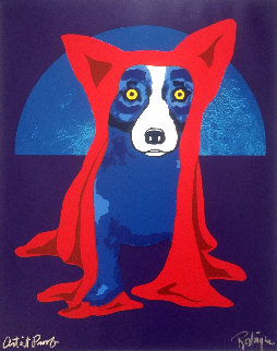 Hiding From the Moon AP Limited Edition Print - Blue Dog George Rodrigue