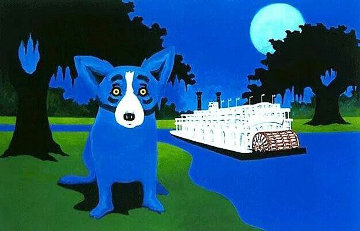 Rollin Down the River AP  2004 Limited Edition Print - Blue Dog George Rodrigue