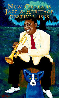 New Orleans Jazz And Heritage Festival Poster - Louis Armstrong 1995 HS Limited Edition Print by Blue Dog George Rodrigue