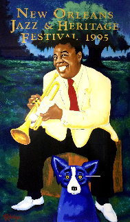New Orleans Jazz & Heritage Festival Poster 1995 Limited Edition Print - Blue Dog George Rodrigue