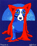 Hiding From the Moon 1995 Limited Edition Print - Blue Dog George Rodrigue