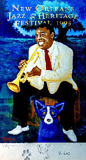 New Orleans Jazz & Heritage Festival Poster - Louis Armstrong 1995 HS Limited Edition Print - Blue Dog George Rodrigue