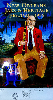 New Orleans Jazz & Heritage Festival Poster - Pete Fountain 1996 Limited Edition Print by Blue Dog George Rodrigue