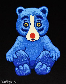 Boogie Bear- Black 1995 Limited Edition Print - Blue Dog George Rodrigue