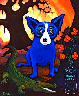 Blue Dog Absolut Vodka 1992 Limited Edition Print - Blue Dog George Rodrigue
