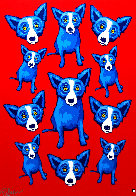 Group Therapy Red 1995 Limited Edition Print by Blue Dog George Rodrigue - 0