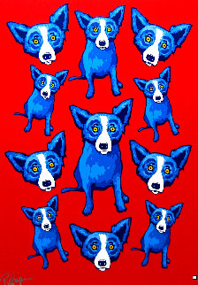 Group Therapy Red 1995 Limited Edition Print - Blue Dog George Rodrigue