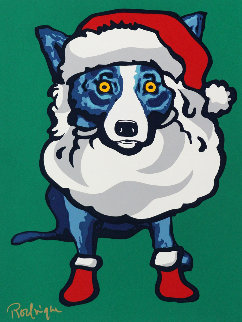 Ho Ho Ho 2000 Limited Edition Print - Blue Dog George Rodrigue