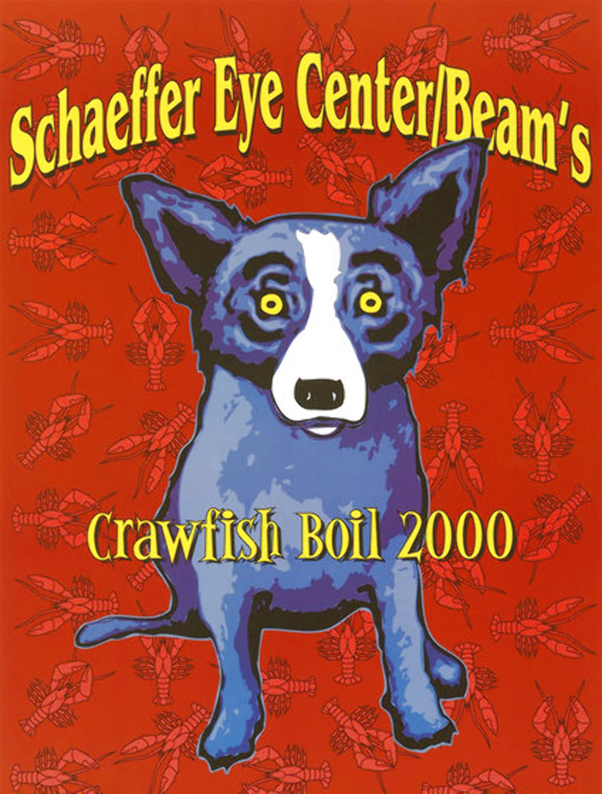 Schaffer Eye Center Beam's Crawfish Boil Poster , Birmingham, AL 2000 HS Limited Edition Print by Blue Dog George Rodrigue