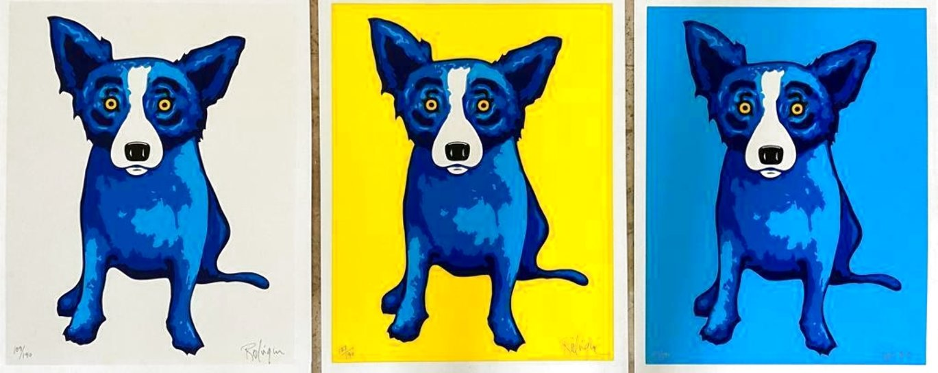 Sunshine Purity Blue Skies (3 Piece Suite) Limited Edition Print by Blue Dog George Rodrigue