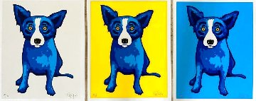 Sunshine Purity Blue Skies (3 Piece Suite) Limited Edition Print - Blue Dog George Rodrigue