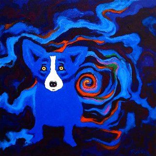 Volcano Moon 2008 28x28 Original Painting - Blue Dog George Rodrigue