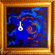 Volcano Moon 2008 28x28 Original Painting by Blue Dog George Rodrigue - 1