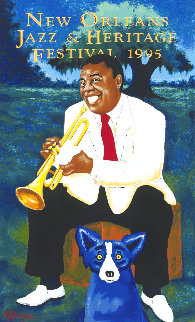 Louis Armstrong Poster 1995 Limited Edition Print - Blue Dog George Rodrigue