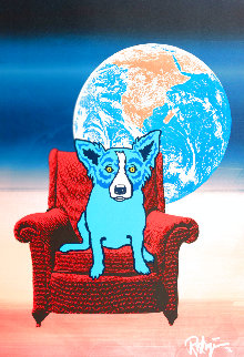 Space Chair: Split Font Blue And Pink 1992 Limited Edition Print - Blue Dog George Rodrigue
