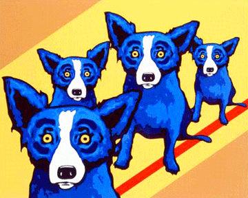 I Walk the Line 2003 Limited Edition Print - Blue Dog George Rodrigue