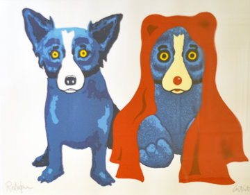 Bear with Me AP 1995 Limited Edition Print by Blue Dog George Rodrigue