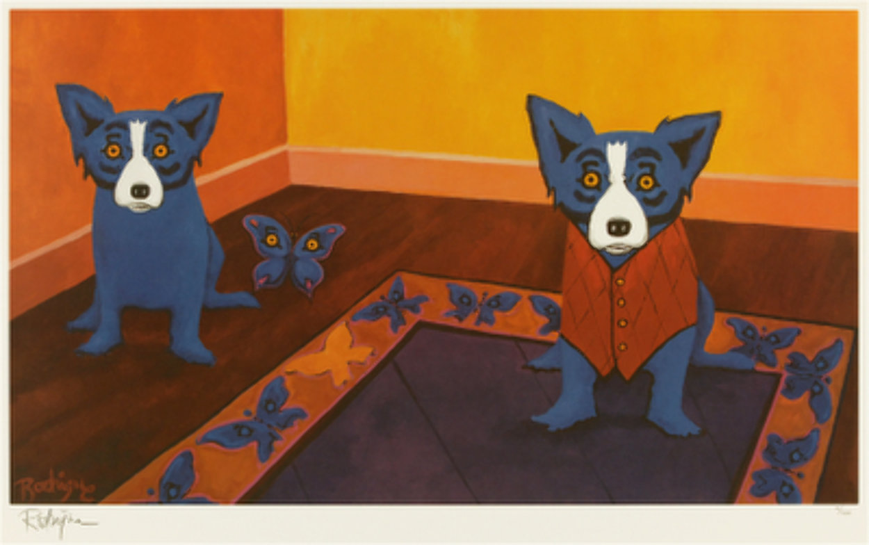 Butterflies Are Free 1996 Limited Edition Print by Blue Dog George Rodrigue