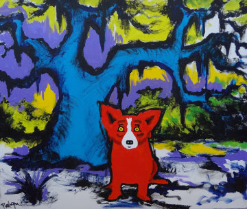 I'm Hot for You 2009 20.75x24 Original Painting - Blue Dog George Rodrigue