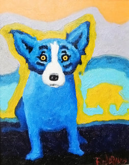 Blue Dog With a Yellow Tree 1992 17x20 Original Painting - Blue Dog George Rodrigue