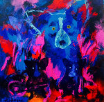 Voodoo Nights 2007 Original Painting - Blue Dog George Rodrigue