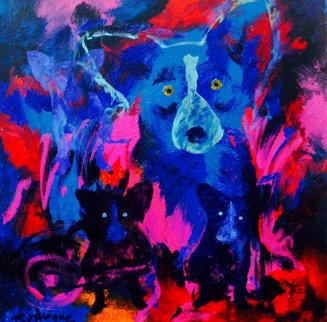 Voodoo Nights 2007 Original Painting - Blue Dog George Rodrigue