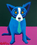 Life on Venus is Great 1999 Original Painting - Blue Dog George Rodrigue