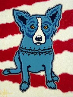 Untitled (Gulf War) 1990 14x11 Original Painting - Blue Dog George Rodrigue