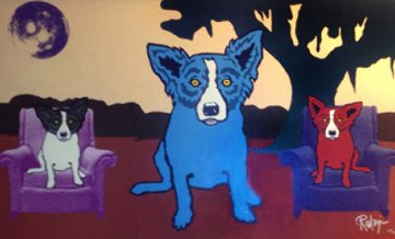 Waiting on My TV Dinner 1993 Limited Edition Print by Blue Dog George Rodrigue