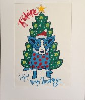 Rodrigue Merry Christmas Embellished 1993  Limited Edition Print by Blue Dog George Rodrigue - 1