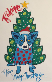 Rodrigue Merry Christmas Embellished 1993  Limited Edition Print by Blue Dog George Rodrigue