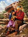 Teddy Bear Conversations 1992 48x36 Original Painting - Alfredo Rodriguez