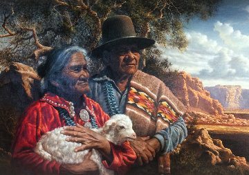 Ageless Wisdom, Ageless Land 1984 58x40 Original Painting - Alfredo Rodriguez