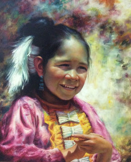 Little Beauty  29x26 Original Painting - Alfredo Rodriguez