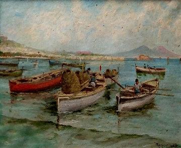 Untitled Seascape 1930 16x22 Original Painting - Scott Rogers
