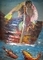 Fisherman 1968 30x20 Original Painting - Alfred Rogoway