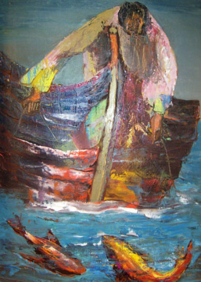 Fisherman 1968 30x20 Original Painting by Alfred Rogoway