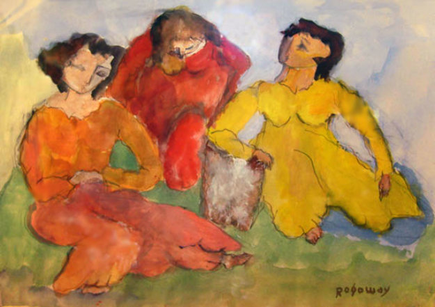 Three Female Figures 1971 20x28 Watercolor by Alfred Rogoway