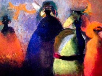 Alegrías Con Pájaros 2007 12x16 Original Painting - Elmar Rene Rojas